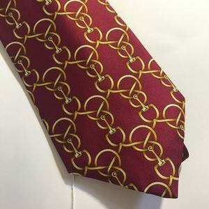 CAVANGH UK Silk Red Golden Links Tie